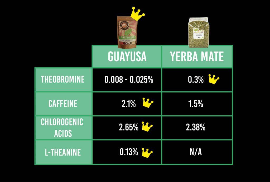 Guayusa vs Yerba mate, a compositional comparison. Theobromine, caffeine, chlorogenic acids and L-theanine.